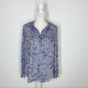 LUCKY BRAND paisley button up long sleeve blouse